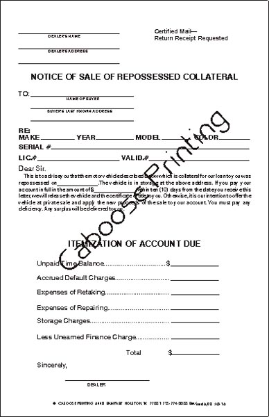Notice Of Sale Repossessed Collateral