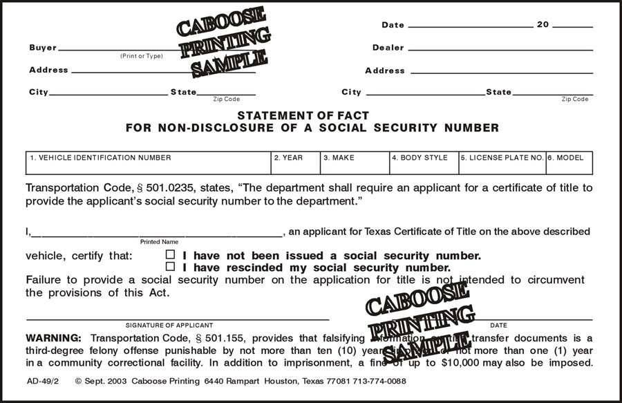 Statement of Fact for Non-disclosure of Social Security # – AD49/2 ...