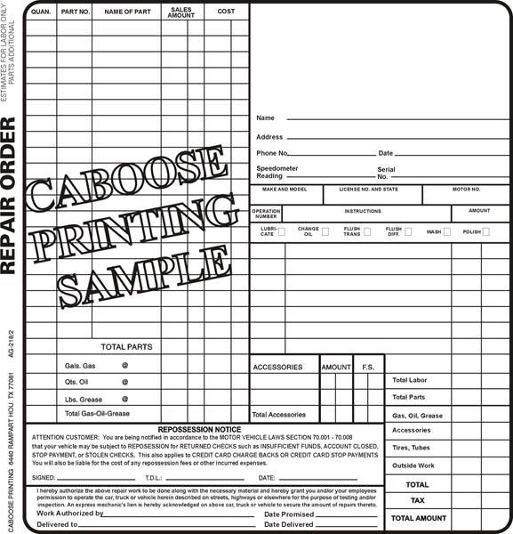 Repair Order Form  Ag  Package Of   Caboose Printing